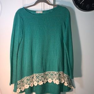 Teal altard state long sleeve blouse